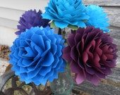 6 Large Dahlias. CHOOSE YOUR COLORS.  Handmade Bouquet. Other Colors Available. Custom Orders Welcome.