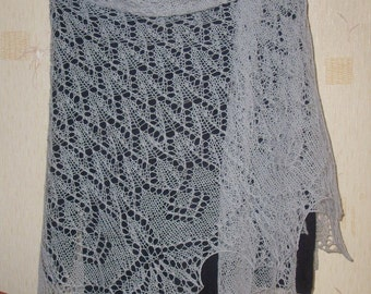 SALE 20 off !!! Hand knitted large wool shawl stole wrap grey