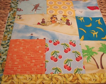 """14"""" x 14"""" PILLOW COVER - 8 Happiness Squares Bright Colors Vintage Sock Monkeys Vacation at the Beach with Banana"""