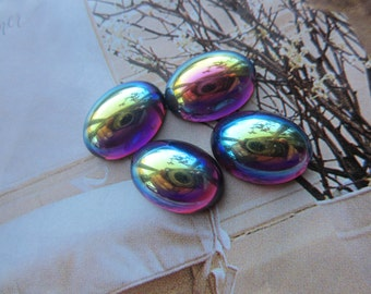 Czech Amethyst AB Smooth Top Glass 14x10mm Cabs 4Pcs.