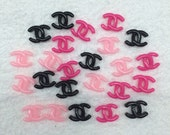 21pc Pink  Black Hot Pink Assorted X Flat Back Resin Cabochons ded7
