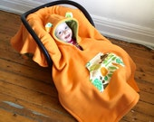 Car Seat Cape Poncho (Orange Green Garden) Reversible Kids Hooded Fleece Poncho Cape with ears