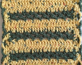 Green and Gold Dishcloth