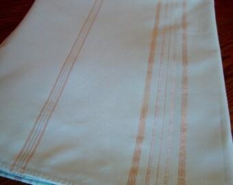 Aqua Tablecloth Metallic Stripes Vintage Kitchen Tablecloth