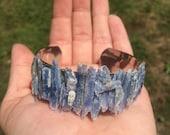 Kyanite cuff bracelet, raw stone cuff bracelet, raw mineral bracelet, kyanite crystal bracelet, silver cuff