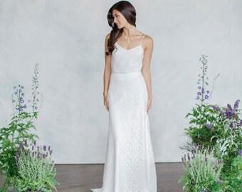 Bridal Separates, Bridal skirt, Silk top, Lace skirt, Long skirt, Wedding top, Wedding skirt, Modular pieces, Boho bride, Modern bride,