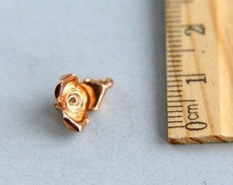 SALE, Flower Charm, Rose Charm, Rose Gold vermeil Charm, Rose Gold Flower, Pink rose charm, Flower Pendant, Rose Pendant, 10mm ( 1 piece )