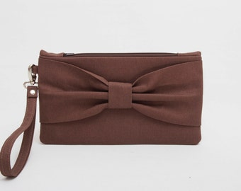 PROMOTIONAL SALE -Bow clutch purse ,wristelt clutch,bridesmaid gift ,wedding gift ,make up bag,cosmetic bag,camera bag,zipper pouch, brown