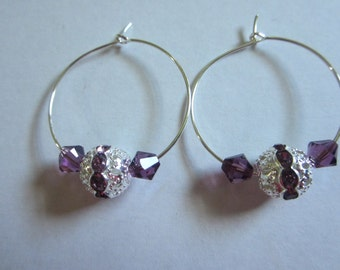 Earrings Small Hoops with Stones