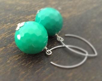 Chrysoprase Earrings - Green Jewelry - Sterling Silver Jewellery - Gemstone - Fashion - Luxe