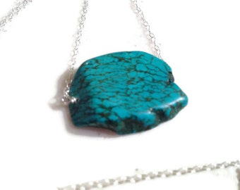 Turquoise Necklace - Gemstone Jewelry - Sterling Silver Jewellery - Slab - Chunky - Mod