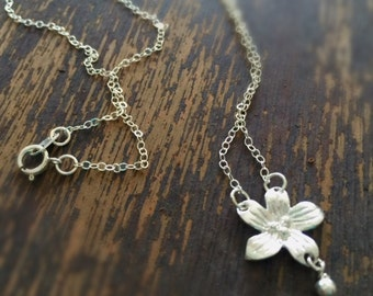 Flower Necklace - Charm Pendant Jewelry - Sterling Silver Chain Jewellery - Fashion - Trendy