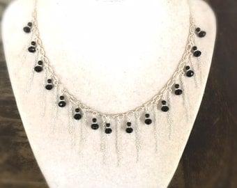 Black Necklace - Onyx - Fringe - Sterling Silver Jewelry - Handmade Gemstone Jewellery - Chain - Luxe