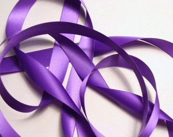 "5/8"" Double-Faced Satin Ribbon - Purple"