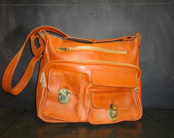 Large Vintage Purse Carry On Messenger Tote Travel Bag -Shoulder Bag-Fabric Lining