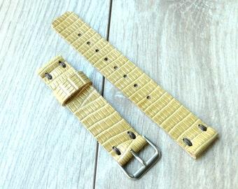 Alligator Skin Pattern Handmade leather tan watch strap hand crafted genuine leather watch strap 20mm leather strap 20 mm watch band