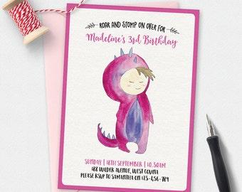 Dinosaur Birthday Invitation, Girls Dinosaur invitation, kids invitation, boys birthday invitation, Custom invitation, party invitation