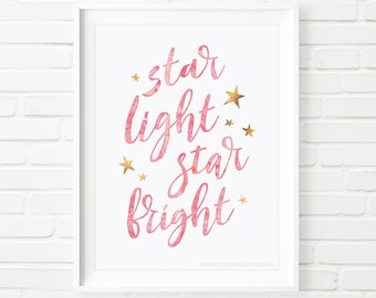 Kids Prints, girls print, printable quote, Star light star bright, nursery printable wall art, Printable Art, children's print, wall art