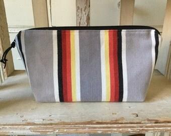 Striped Fabric Makeup Bag