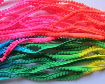 5 Yards neon changing Tiny Pom Pom Trim (pom size 5mm), Mini Pom Pom Trim, Colorful trim, Rainbow Trim, Pompom trim, Tiny Pompom