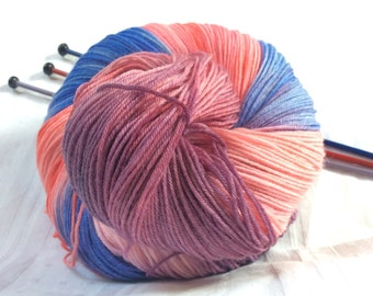 SALE Hand dyed Variegated 4ply Knitting or Crochet yarn. Sock knitting. Pink, blue, mauve, lilac, 'Cottage Garden' Colorway
