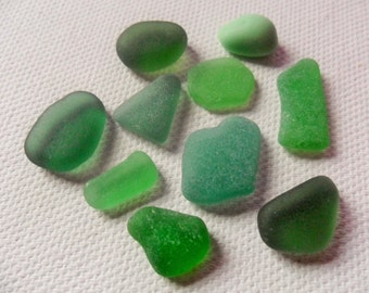 Gorgeous green sea glass collection - Lovely English beach find pieces