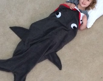 READY TO SHIP! Youth Shark Fleece Blanket/ Sleeping Bag