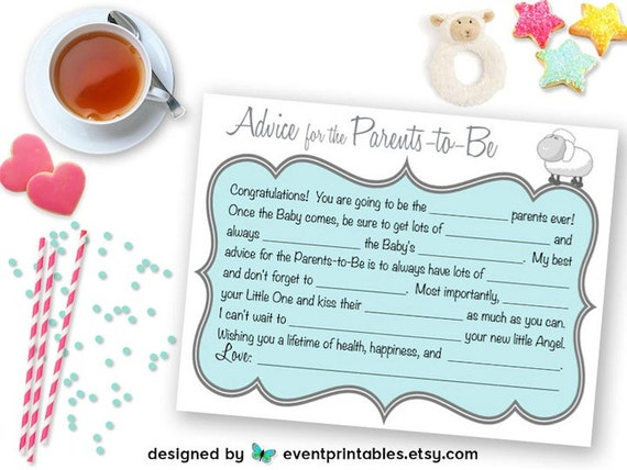 printable baby shower mad libs advice card for parentstobe blue