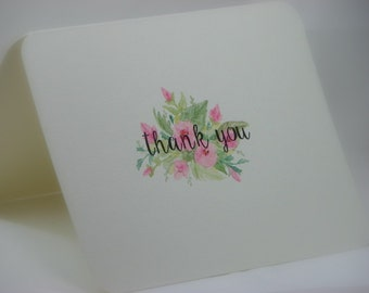 OOAK Handpainted Floral Bouquet Thank You Greeting Card
