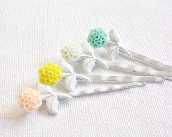 Mum Fowers Bobby Pin Set of Four, Hair Accessories, Peach, White, Yellow, Aqua, Pastel, Girls, Women, Hair, Bobbie Pins