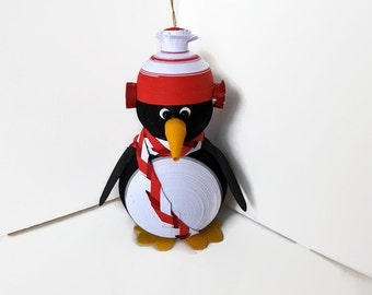 Penguin Christmas Decoration Ornament Paper Quilled with Bright Holiday Red Hat and Scarf