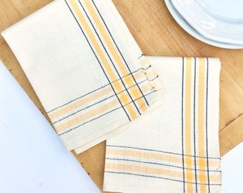 Vintage Martex Dish Towels Unused - Set of Two - New Old Stock - Yellow and Black Ticking Kitchen Dish Cloth - Mid Century - Tea Towels