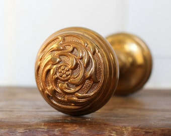 Antique Door Knob Set - Art Nouveau Style- Cast Bronze - Salvaged Interior Door Hardware - Ornate Door Knobs - Victorian Era