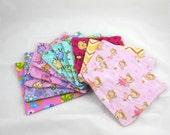 Cloth Wipes, Washcloths, Burp Cloths, Handkerchiefs, Napkins in Girl Prints Set of 12