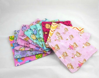 Cloth Wipes, Washcloths, Burp Cloths, Handkerchiefs, Napkins in Girl Prints Set of 12