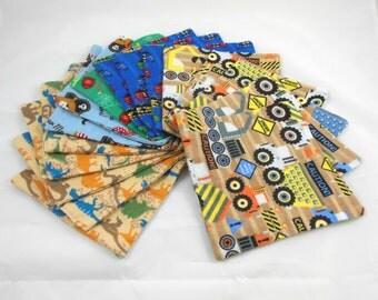 Cloth Wipes, Washcloths, Burp Cloths, Handkerchiefs, Napkins in Boy Prints Set of 16