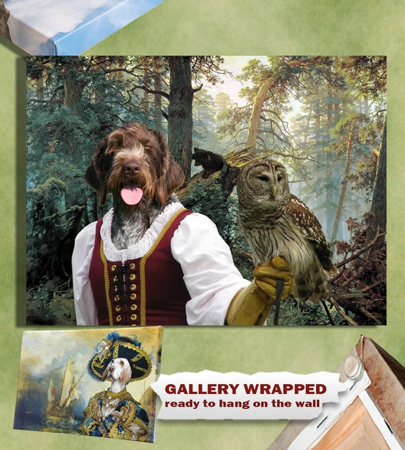 German Wirehaired Pointer Art GWP Dog Canvas Wall Portrait Art Painting GWP Pointer Print German Pointer Custom Dog Portrait Nobility Dogs