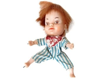 """Tiny Terry Doll 1966 My Toy Company Japan 4"""" Small Rubber Boy Doll Red Hair Freckle Face 1960's Redhead Orange Hair Haunted Looking Doll"""