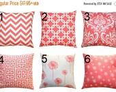 SALE Euro Sham- Premier Prints Coral Decorative Pillow Cover- Large Size- Hidden Zipper Closure- You Choose Size- Modern Home Decor Accents