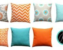 Euro Sham, Orange Pillow Cover, Mandarin Orange Pillow Case, Large Size Accent Pillow, Zippered Pillow, Turquoise Bed pillows, 26x26 Throw