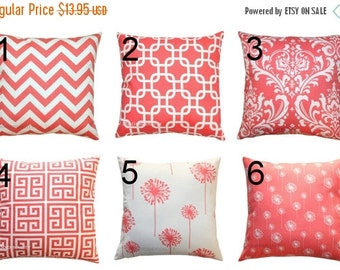 SALE Decorative Pillow- Premier Prints Coral Toss Pillow Cover- 14x14 inches- Hidden Zipper Closure- You Choose