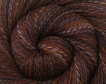 Luxury Handspun Yarn - LITTLE BEAR - Handpainted 85/15 Polwarth/Tussah silk, 2 ply Lace weight, 617 yards