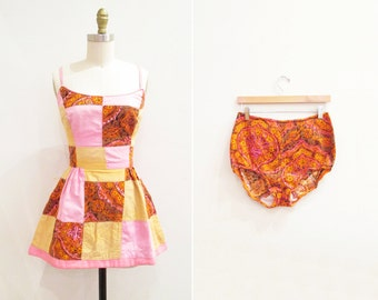 Vintage 1960s Swimsuit | Psychedelic Patchwork 1960s Playsuit | size small - medium