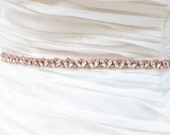 SALE STEPANIE Wedding crystal pearl bridal sash , belt