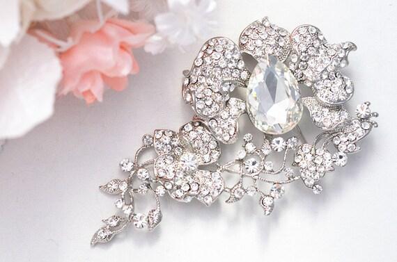 SALE Huge Shiny Swarvoski rhinestone wedding brooch, head piece