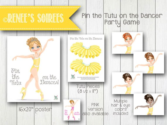 ballerina pin the tutu on the dancer party game instant