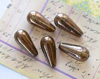 Czech Drop Bead -20X8mm- Copper Glass - 5 Pieces (AN6-51)