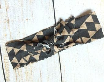 Black and Gold Diamond Headband // Organic Cotton Knotted Headband