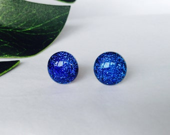 Dark Aqua/ Sky Blue Dichroic Glass Stud Earrings, on sterling silver - Fused Dichroic glass