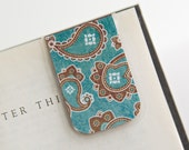 Laminated Magnetic Bookmark Paisley Teal Blue Brown White Abstract Flowers Country Chic Student Teacher School Education Gift Christmas